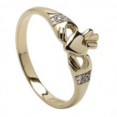 Modern Diamond Claddagh Ring - Yellow Gold