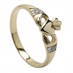 Moderner Diamant Claddagh Ring - Gelbes Gold