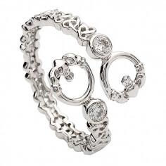Torc Claddagh Ring für Damen - Sterling Silber