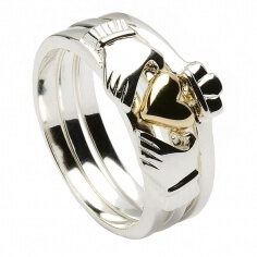 Dreiteiliger Claddagh-Ring aus Silber