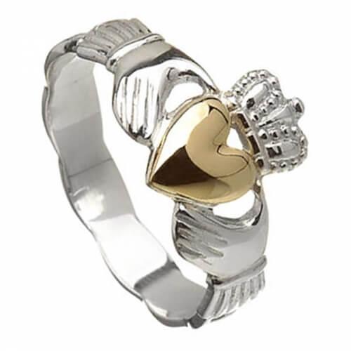 Silberner Claddagh Ring mit 10K Gold Herz