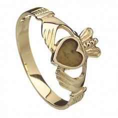 Gold Claddagh mit Connemara Marmor