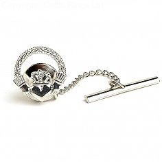 Engraved Claddagh Tie Pin - Silver