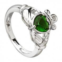 Green Zirconia Claddagh Ring