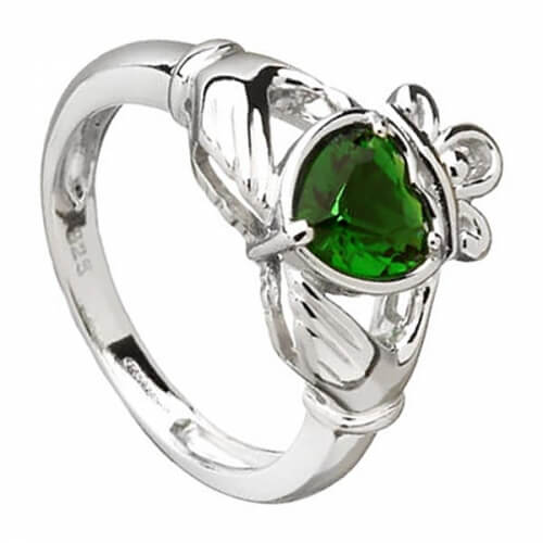 Green Zirconia Claddagh Ring