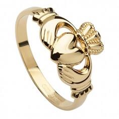 Womens 10k Gold Claddagh Ring