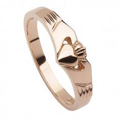 Modern Rose Gold Claddagh Ring