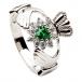 Womens Silver Claddagh Stone Set Ring