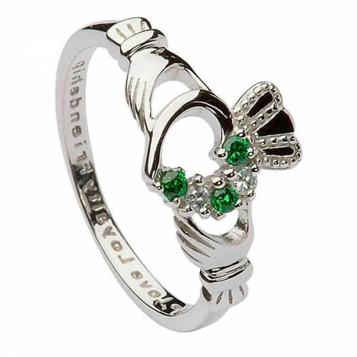 Womens Green CZ Claddagh Ring