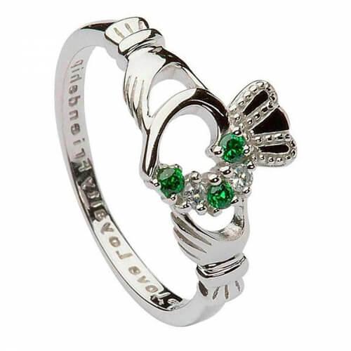 Bague CZ Claddagh verte pour femme