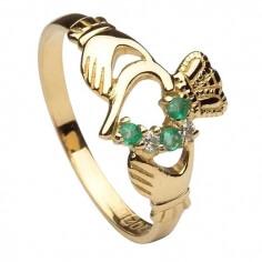 Smaragd und Diamant Claddagh Ring - Gelbes Gold