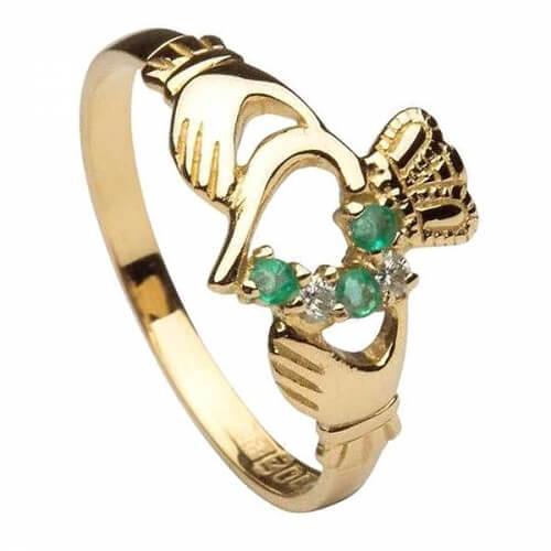 Émeraude et diamant Bague Claddagh - Or jaune