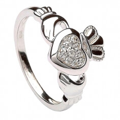 Women's Silver Claddagh Ring Pave Setting