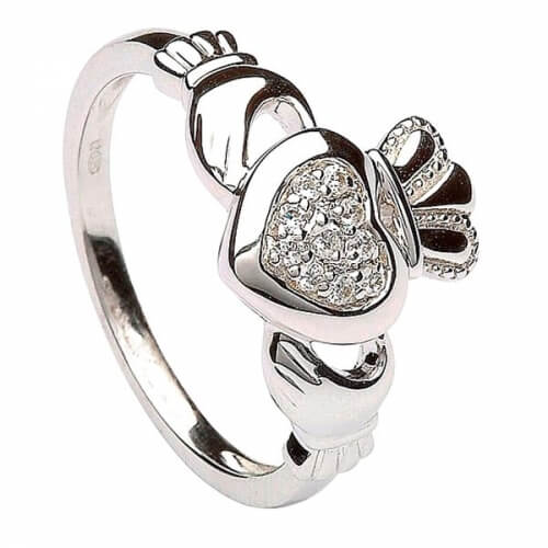 Womens Silver Claddagh Ring Pave Setting