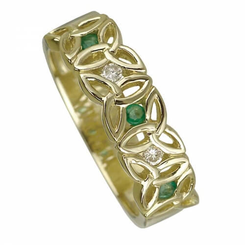 Celtic Ring with Emerald - Yellow Gold