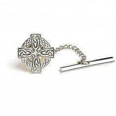Keltischer Kreuz Krawattennadel - Silber