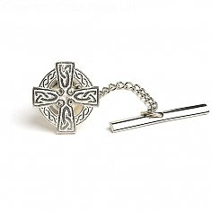 Celtic Cross Tie Pin - Silver