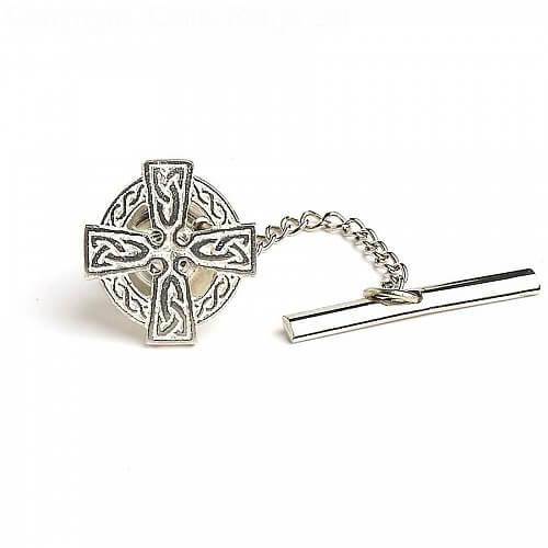 Celtic Cross Tie Pin - Silver
