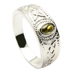 Celtic Ring with Peridot - Sterling Silver