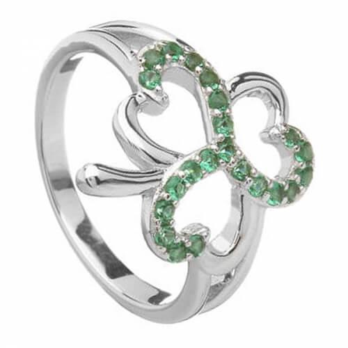Kleeblatt-Ring mit grünen Zirkonia