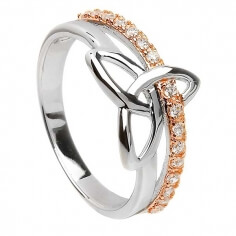 Silver & Rose Gold Trinity Ring