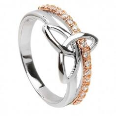 Trinity-Ring aus Silber und Roségold