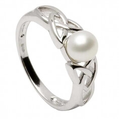 Silver Trinity Knot Ring with Pearl