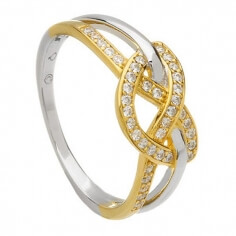 Two Tone Love Knot Ring
