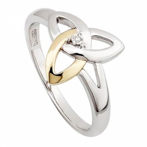 Silber und 10K Gold Trinity Knoten Ring mit Diamant