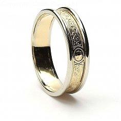 5mm Celtic Warrior Ring 14K Gold mit weißer Ordnung