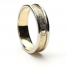 5mm Celtic Warrior Ring 14K Gold with White Trim