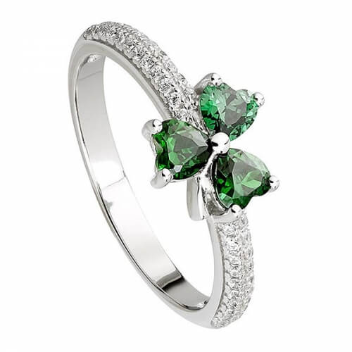 Green CZ Shamrock Ring