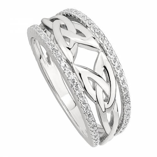 Trinity Knot Ring with CZ Rails