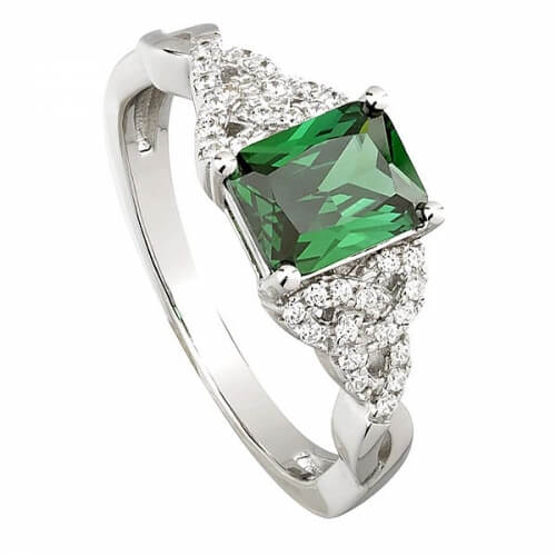 Trinity Knot Ring with Green CZ