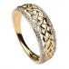 Keltischer Knotenring für Damen mit Diamantfelgen - 14K Gold