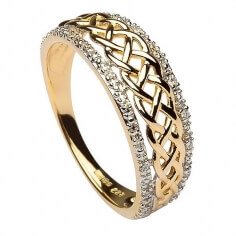 Womens Celtic Knot Ring with Diamond Rims - 14K Gold