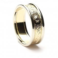 7mm Celtic Warrior Ring 14K Gold with White Trim