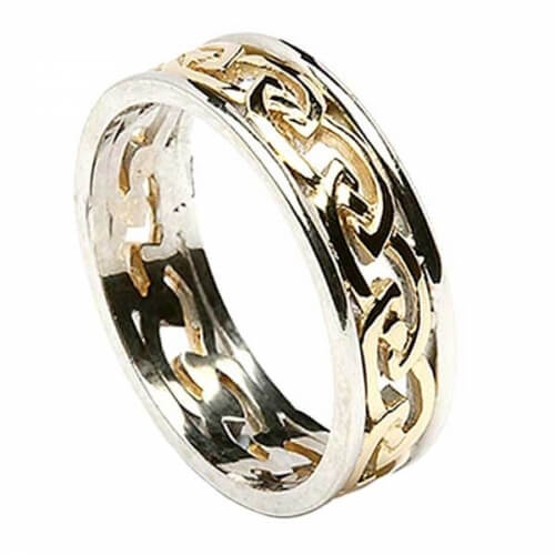 Womens Eternal Celtic Knot Ring with Trim - Yellow with White Trim