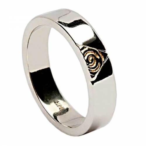 Keltischer Spiral Ring mit Diamanten - Weißes Gold