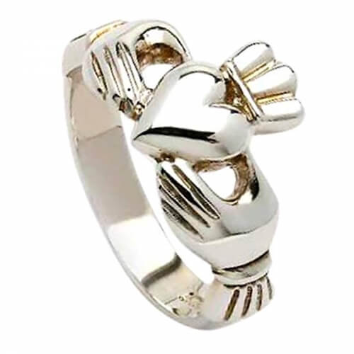 Klassischer Claddagh Ring für Herren - Silber