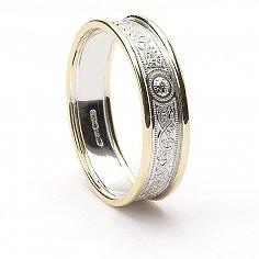 Schmale Keltische Krieger Ring mit Trim - Weiß mit gelber Leiste