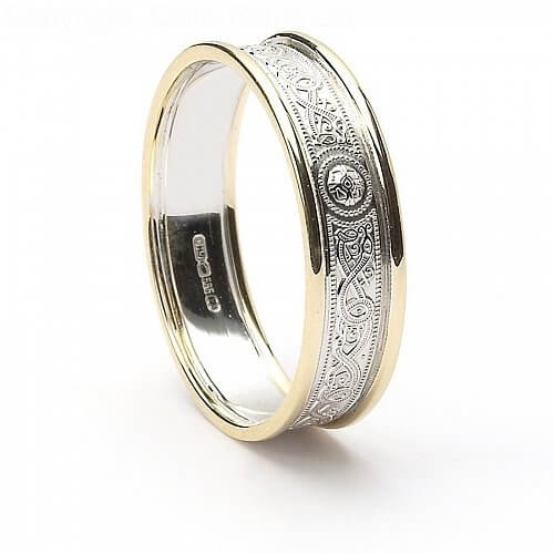 Narrow Celtic Warrior Ring with Trim - White with Yellow Trim