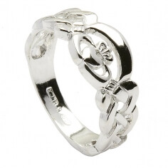 Solid Styled Claddagh Ring - Silver