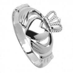 Mittlerer silberner Claddagh Ring