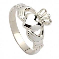 Herren Schwer Claddagh Ring - Silber
