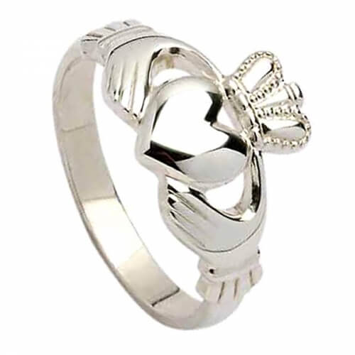 Mens Heavy Claddagh Ring - Silver