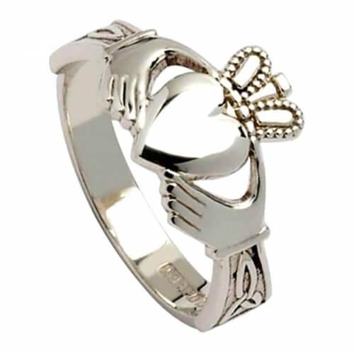 Claddagh pour femme avec des nœuds de trinité - Argent