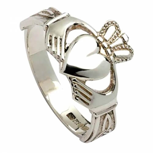 Mens Claddagh with Trinity Knots - Silver
