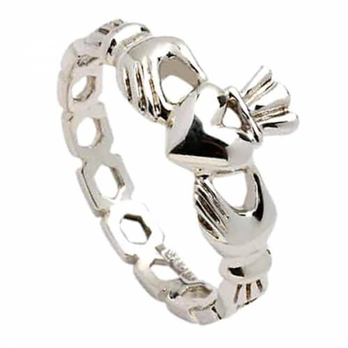Womens Chain Link Claddagh Ring - Silver