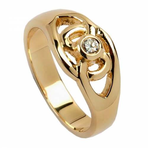 Bague à diamant avec noeud celtique - Or jaune